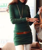 Wholesale Hot Bodycon Dress For Women Clothing Bottoming Mini Dress High Necked Full Sleeve Turtleneck Casual Sheath Solid Burgundy Green Color