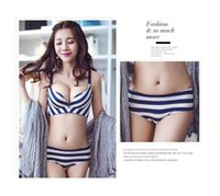 Wholesale NO Cup woman one piece bra adjustment type gather seamless bra no trace printed stripe bra set