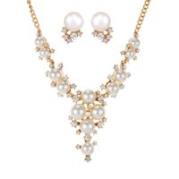 Wholesale 2016 Newest Gold Women Bridal Wedding Jewelry Sets Charm Crystal Pearl Pendant Necklaces Earrings Sets Shininy African Jewelry Set