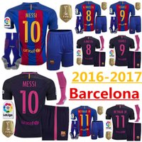 Wholesale 2016 Barcelona jersey price set socks MESSI ARDA A INIESTA Suarez SERGIO PIQUE Y RAKITIC4 Neymar JR16 home and away jers