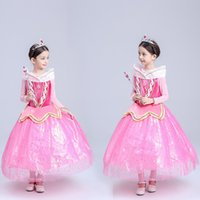 Wholesale 2016 new pc Aurora princess dress party sequins sparkling tulle Girls Christmas cosplay dresses Christmas gifts for girl big swing