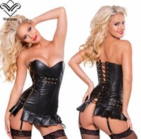 Wholesale Corsets Bustiers Steampunk Faux Leather Corset Waist Training Gothic Hollow Out Back Lace up Overbust Waist Trainer