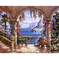 acrylic paintings on canvas - Frameless Europe Seascape DIY Painting By Numbers Kits Acrylic Painting On Canvas Abstract Oil Painting For Wall Art Picture