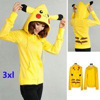 animal ladies jackets - 3XL Women Lady Girls Poke Pikachu Hoodies Cartoon Costume Cosplay Cardigan Zipper Casual Sport jacket Clothing Clothes HH H01