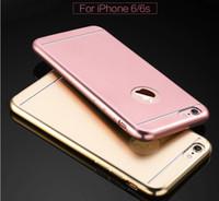 aluminum roses - Slim matt brush aluminum alloy back cover TPU case for iPhone S plus rose gold