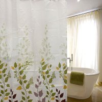 Wholesale Classic Modern Leaf Leaves CM CM Waterproof Bathroom Bath Shower Curtain Polyester With Hooks