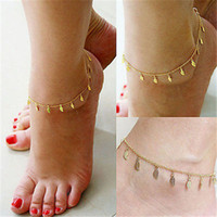 Wholesale Women Leaf Anklet Chain Gold Ankle Bracelet Barefoot Sandal Beach Foot Jewelry