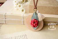 berry necklace - Simple Style Handmade Vintage Berry Tassel Leaf Pendant Necklace Jewelry Dried Flower Specimen Mushroom Pendant Necklace Women Necklace
