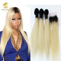 Cheap Ombre Two Tone #1b 613 Dark Roots Blonde Color Brazilian Human Hair Weave with Closure Straight Double Wefts