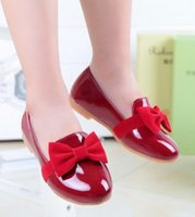 big dance shoes - 2016 New Children Girls Big Bow PU leather Black Red Dance Shoes Princess Solid Shoes For Big Children Girls B4035