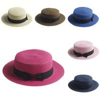 Wholesale Adult Kids Boater Hat Bowknot Straw Hat Flat hat Summer Beach Sun Sailor Cap Sizes