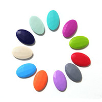 Wholesale Mumma Rocks Silicone Oval Beads DIY BPA Free Silicone Baby Chewable Teething Necklace Beads Mommy Fashion Jewelry