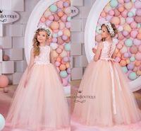 arabic baby - Arabic Blush Flower Girl Dresses Lace Tulle Baby Girl Birthday Party Christmas Communion Dresses Children Girl Party Dresses