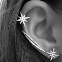 asymmetric earring - 2016 New Shiny silver asymmetric Snowflake Ear Cuff Korean exaggerated Personality Clip Earrings wedding bridal earrings For Women