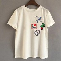 airplane s - Fashion Harajuku Women Cotton Casual T shirt Kawaii Cartoon Appliques Airplane Tops Female Tee Ladies Camisetas Femininas