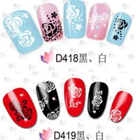 Wholesale White Black Flower Style Nail Art Water Transfer Decal Sticker Christmas Nail Decals DIY Nail