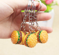 Wholesale Cute Hamburger Keychains Artificial Simulation Food Pendant Key Ring Key Chains Fashion Accessories Christmas Birthday Gift Promotion Item