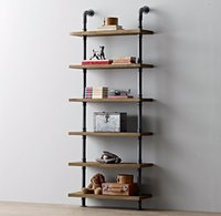 antique wood ladder - Modern wood ladder wall shelf layer pipe design bookshelf Industrial Vintage Iron Pipe Six Tier Metal Bathroom Shelf