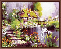 Wholesale Fashion X50cm Frameless DIY Digital Oil Canvas Painting Dream House by Numbers Kits with Pigment Home Decor Wall Decor