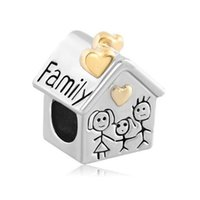 angels family - 925 Silver Plated Mother Daughter Charm Gold Heart Love Family House Losse Beads European Charms Fits Pandora Bracelets Necklace