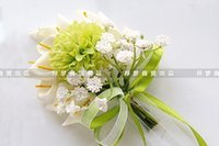 artificial teardrops - 2016 Teardrop Style Calla Artificial Bride Formal Holding Flowers Pearl Lace Elegant Bouquet For Wedding Decoration Get Corsage