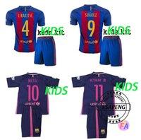 barcelona suit - 16 top quality Barcelona soccer jersey Home Away MESSI ARDA A INIESTA Soares I RAKITIC kids football shirt suits