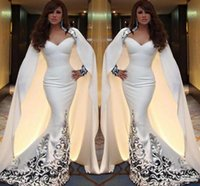 africa t shirt - White Vintage Evening Dresses With Long Cape Mermaid Style Prom Dresses With Applique Africa Custom Made Formal Party Gowns Long Sleeves