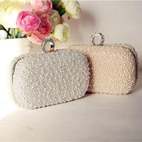 beaded purse frames - Elegant Pearl Bridal Hand Bags Beige White Pink sac a main femme Evening Clutches Handbags Women Famous Designer Purses Whoolesale