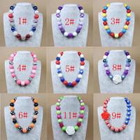 gumball beads - Kids Children Punk Beaded Necklaces Princess Pendants Handmade Beads Polka Dot Beads Clear Gumball Beads
