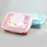 bento boxes for kids - YOOYEE Food grade newest Leakproof Plastic Food Container Compartments Lunch Bento Box with Spoon for kids