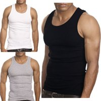 Wholesale Muscle Men Top Quality Premium Cotton A Shirt Wife Beater Ribbed Tank Top