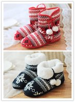 adult knitted slippers - Big kids Indoor boots Knitting Snowflakes Pompons Indoor Snow boots Girls Warm home Slippers colors sizes for teenage and adult