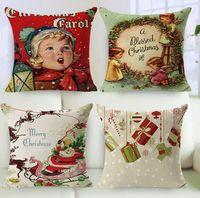 Wholesale 2Pcs set Cotton Linen Christmas Cushion Cover Square Pillowcase Sofa Home Decorative Pillow Almofadas Cojines Supply