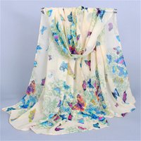 butterfly scarf silk - Fashion Accessories women chiffon scarves butterfly pattern girls scarves silk wraps and shawls blue pink yellow purple colors