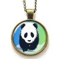 american wildlife - 10pcs Panda necklace large animal rather like a bearwhich has black and white necklace print photo Wildlife necklace