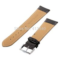Wholesale 12mm mm mm mm mm mm mm mm Black Genuine Leather Pin Buckle Watch Band WB0064