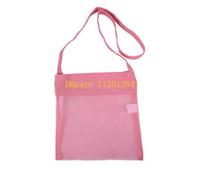 Fabric Sundries Folding 100pcs lot Free Shipping 24x21cm Small Size Kids Child Children Summer Beach seashell Shell Tote Bag Children Mesh Shell bag