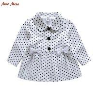 Wholesale Fashion Spring Autumn Toddler Girl Polka Dot Coat Cotton White Bow Children Jacket Outerwear