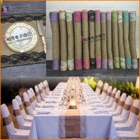 Wholesale 30cm cm Party Decoration Vintage Burlap Lace Hessian Linen Table Runner Natural Jute Country Wedding Decoration Color