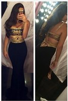 african beaded collars - 2016 Sexy Prom Dresses Long Mermaid Straps Beaded Cut Out Gold Black African Evening Party Gowns