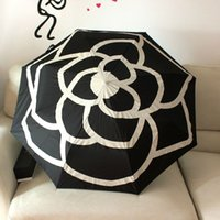 Wholesale New Famous Brand Umbrella Rain Women Automatic Umbrella Classic Black Waterproof Camellia UV Fold Clear Umbrella parapluie