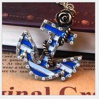 Wholesale New hot seller Vintage Marine Era Retro Rose Flower Blue Anchor set auger Necklace Pendant C033 Valentine s Day Gift cheap
