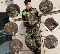 Wholesale Training clothes german flecktarn camo military uniform camouflage suit paintball army clothing emerson combat shirt pants sport hunting