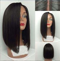 bank cut - Grade A Short Cut Virgin Brazilian Hair Glueless Full Lace Human Hair Wigs Bob Lace Front wigs For Black Women Middle Part