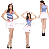 adult tulle dress - New Arrival Adult Women Sexy Blue Stripe Red Heart Lace Tulle Dress Hat Fantasia Navy Uniform Erotic Naughty Nurse Cosplay