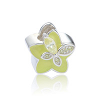 apple shaped beads - Apple Green Star Shape Enamel Charms Beads Fits European Style Bracelets Necklace S925 Sterling Silver D156H8