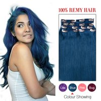 Wholesale Full head BLUE Brazilian Human hair clip in extensions g g Clip In Human Hair Extensions Hair Extensions PINK Hair Extension set