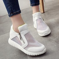 asian medium - New Arrival Women Shoes Breathable Mesh Shoes High Top Flats Sneakers Sport Casual Shoes Asian Size TY0274