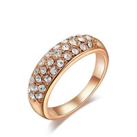 Wholesale Hot Sale Crystal mm Gold Rings Made Of Zircon Alloy Jewelry Factory Line Crystal Wedding Rings
