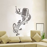 abstract wallpaper backgrounds - Music Note microphone stickers background wallpaper sitting room bedroom adornment Waterproof Can be Removed wall stickers